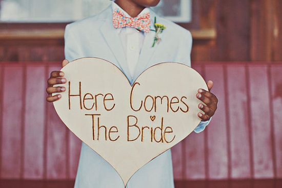 Here Comes the Bride Sign - We had two ring bearers so we wanted to give them both something to hold.
