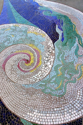 Mosaic Tile Floor Design by James Hubbell. Shelter Island, San Diego, CA, USA. Photo by John Dick via hubbellandhubbell..., (#3 in the slide show).