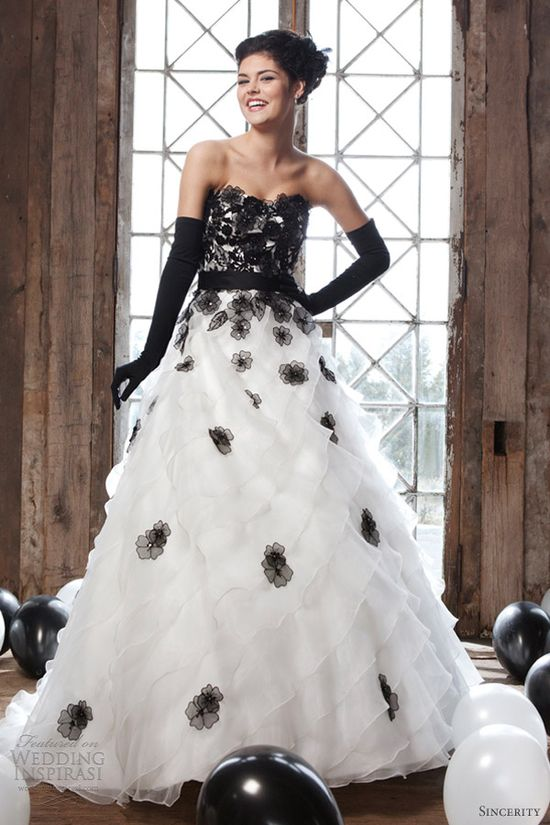 sincerity 2013 strapless black white wedding dress