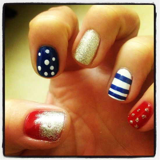 steffieleigh29's festive tips. Show us your 4th of July-inspired nails! Tag your pic #SephoraNailspotting to be featured on our social sites.