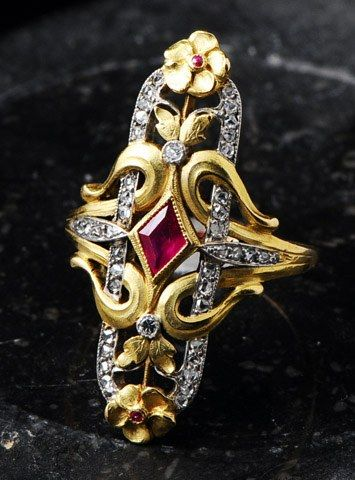 France, circa 1900, Art Nouveau ruby, diamond and gold ring