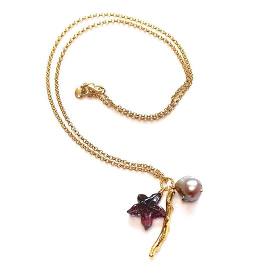 Carved Tourmaline Necklace Purple Starfish Gold Coral by FizzCandy, $98.00