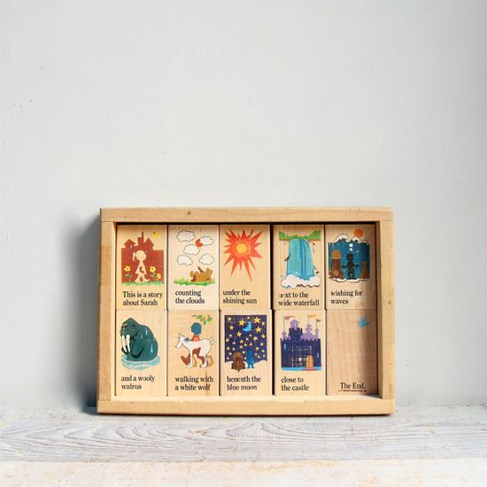 Vintage Story Board Block Set / Wood Toy, Wood Blocks,Natural Nursery, Waldorf, Montessori