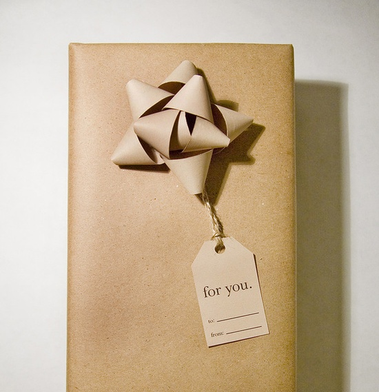kraft paper bow on kraft paper. love.