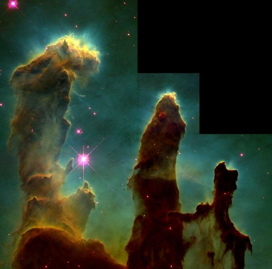 It was one of the most famous images of the 1990s. This image, taken with the Hubble Space Telescope in 1995, shows evaporating gaseous globules (EGGs) emerging from pillars of molecular hydrogen gas and dust. The giant pillars are light years in length and are so dense that interior gas contracts gravitationally to form stars.