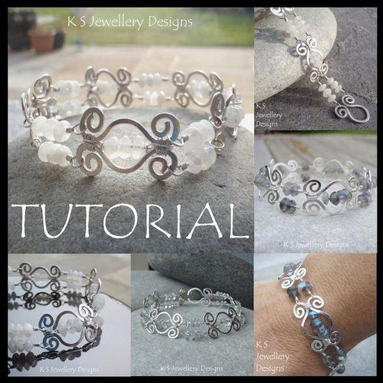 Wire Jewelry Tutorial - HAMMERED SWIRLLINK BRACELET - Step by Step Wire Wrapping Wirework Instructions - Instant Download