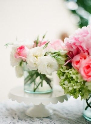 Pink, white and green flower arrangements by Maya Floral