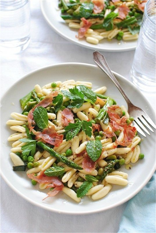 Cavatelli Pasta with Spring Vegetables and Prosciutto / Bev Cooks