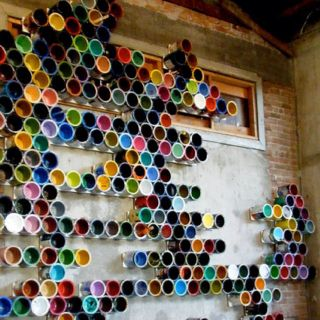 Paint can art installation