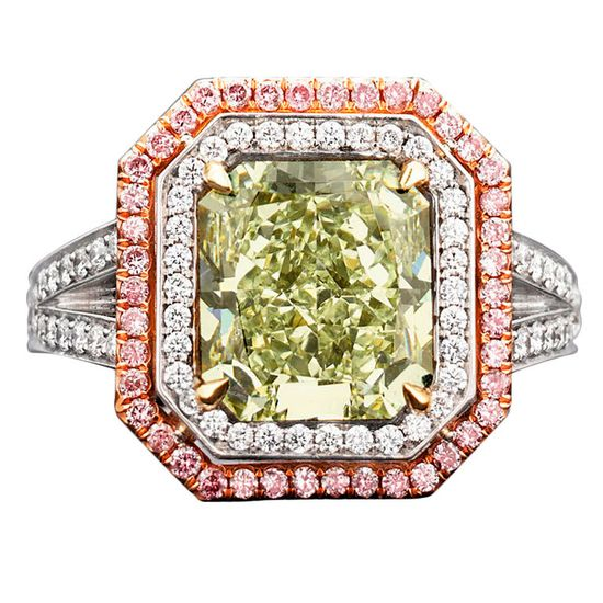 Natural Green Pink Diamond Ring