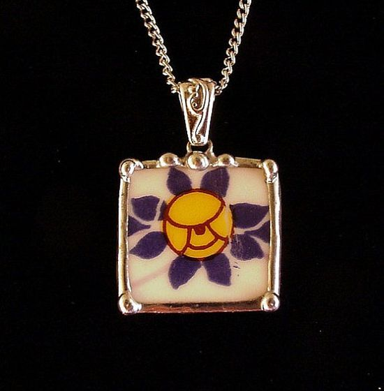 Broken China Jewelry Pendant necklace antique Art Nouveau yellow rose