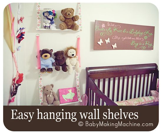 Hanging wall shelves for cheap! What a great idea for extra storage in a kids room!