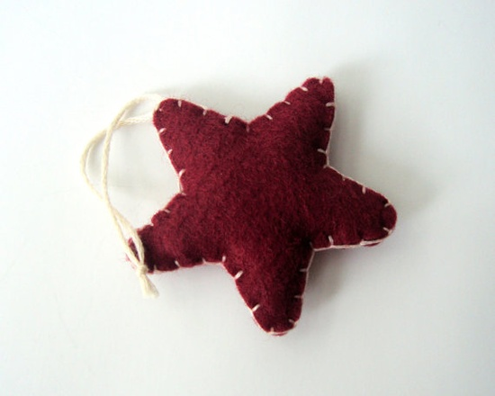 Star Ornament for Autumn or Winter, Cranberry Red, $5.00