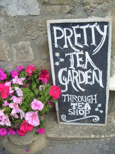 Pretty Tea Garden Through Tea Shop sign