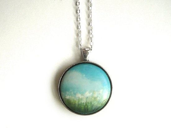 Charm - Necklace - Hand Painted Pendant - Summer Meadow in a Sunny Day Necklace, - Small Miniature Painting Jewelry