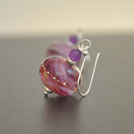 Raspberry Sparkle Lampwork Earrings Pink Artisan Glass by bstrung, $35.00