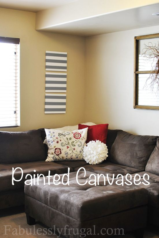Painted Striped Canvases perfect idea for your home decor.  Easy craft idea!