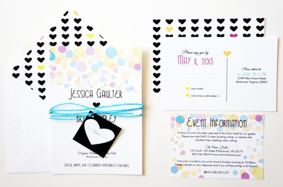 Neon Hearts and Bubbles Wedding Invitations by DawnCorrespondence
