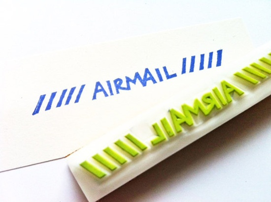 airmail hand carved rubber stamp by talktothesun