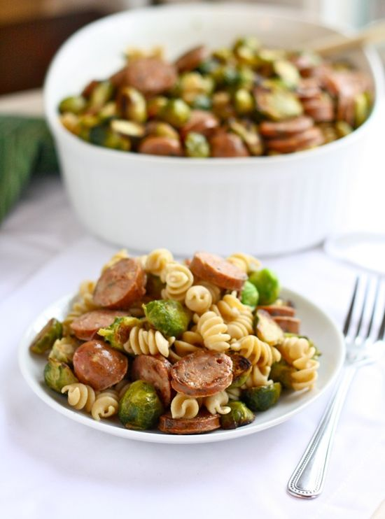 Roasted Brussel Sprout & Chicken Sausage Whole Wheat Pasta incorporates roasted #veggies into one easy to make dish