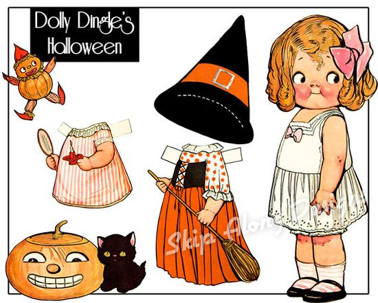 Dolly Dingle Halloween paper dolls