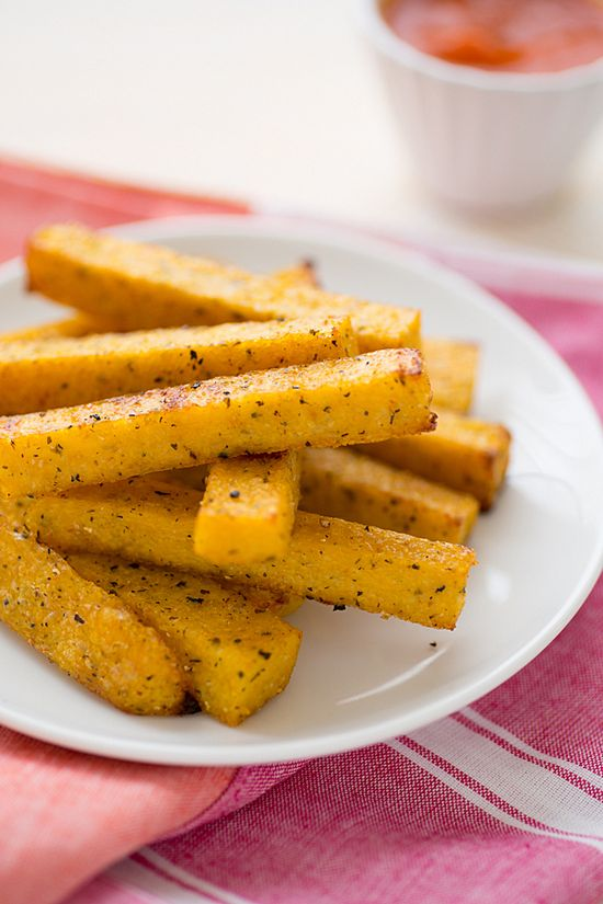 Baked Polenta Fries with Garlic Tomato Sauce