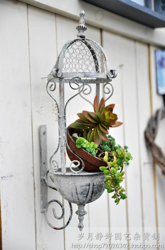 Garden decoration french antique retro finishing iron wire grid iron wall flower stand thalami