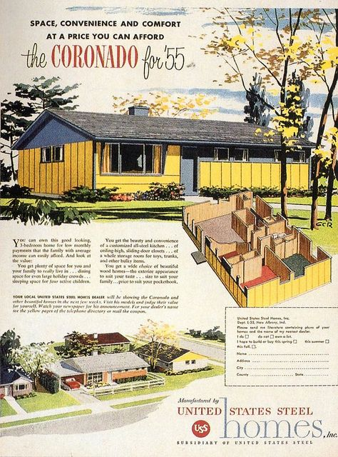 Space, convenience and comfort at a price you can afford! #vintage #home #plans #1950s
