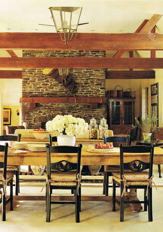 I have a wood beam ceiling in my home...still trying to envision the final look...this goes in the idea bank