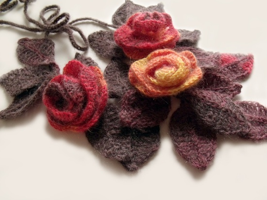 """Crochet scarf freeform 3D flowers and leaves lariat necklace """"Flame Roses""""."""