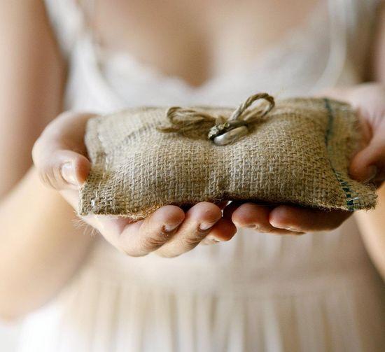 Rustic burlap wedding ring bearer pillow