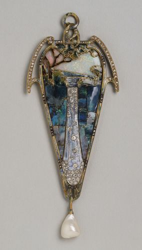 1900 - Gold enamel, opals, diamonds & Baroque pearls by Mucha.