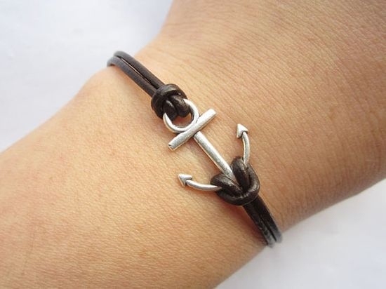 Bracelet antique silver little anchor&brown leather by lightenme