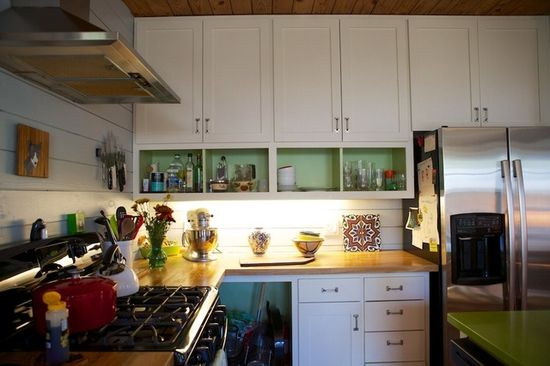 apartment therapy - both open and closed kitchen cabinets