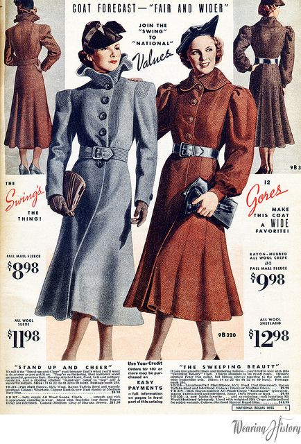 Marvelous coats from the winter 1937-1938 National Bellas Hess catalog. #vintage #1930s #coats #winter #fashion