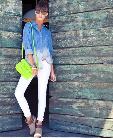 ombre chambray and white denim