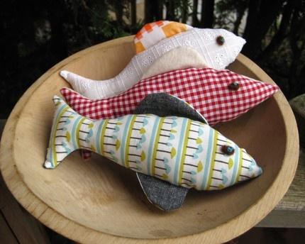 upcycled stuffed fish toys