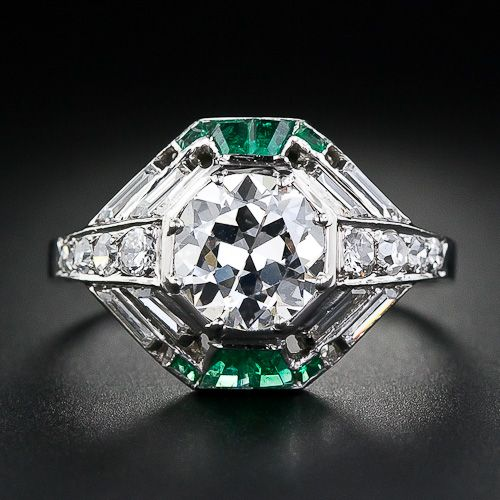 French Art Deco 1.60 Carat Diamond and Emerald Ring