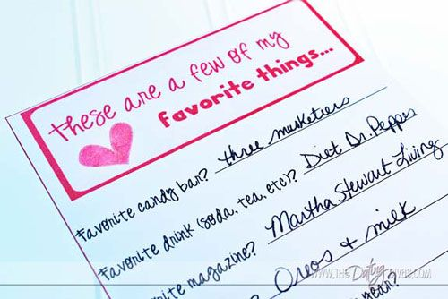 Favorite Things Print Out