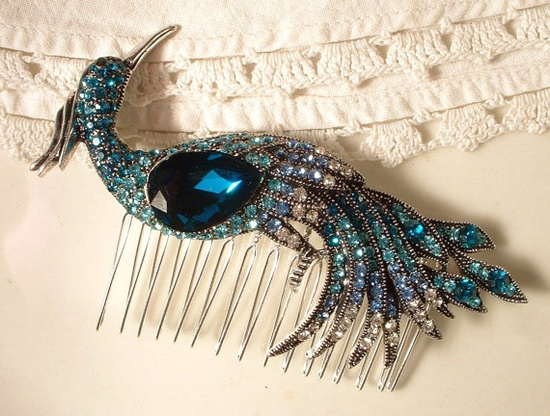 Vintage Peacock Rhinestone Hair Comb