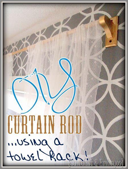 DIY Curtain Rod {Using a Towel Rack!} $3
