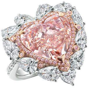 Diamond pink heart ring.