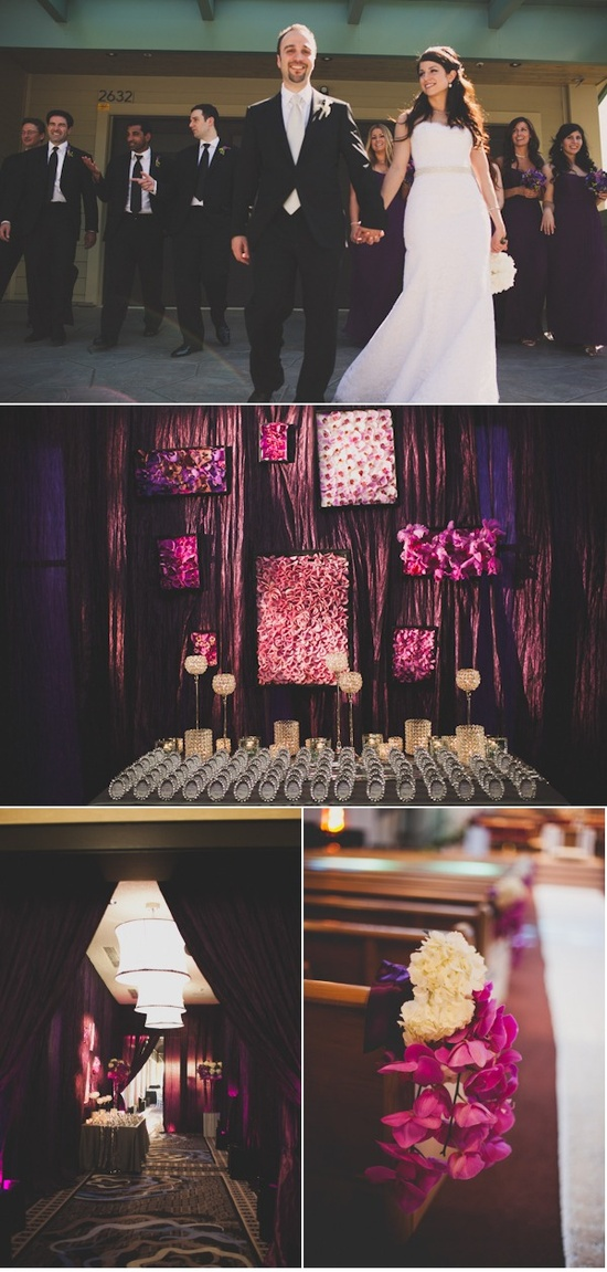 Glamorous wedding!  I especially LOVE the beautiful backdrop for the place cards in little frames!