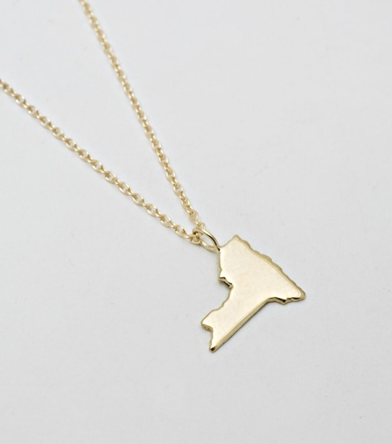 New York state necklace -- gold.