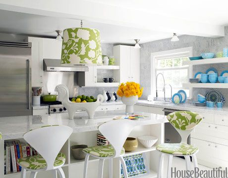 Green and white kitchen. Design: Jonathan Adler. housebeautiful.com. #kitchen #green #accents #white