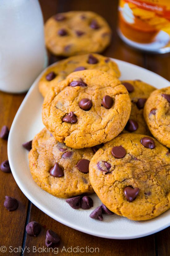 Perfectly soft & chewy pumpkin chocolate chip cookies without being cakey. sallysbakingaddic...