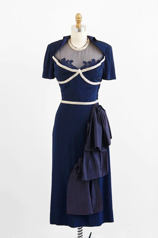 vintage 1940s dress / 40s dress / Navy Blue Beaded Illusion Neckline Evening Dress with Hip Swag / custom designer couture ?