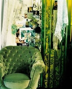 Love this Emerald Green Velvet Chair and Romantic Curtains.