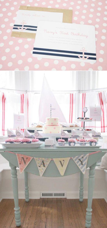Sailor Girl Nautical + Navy themed birthday party via Karas Party Ideas KarasPartyIdeas.com #nautical #party #idea #baby #shower #girl #navy #sailor
