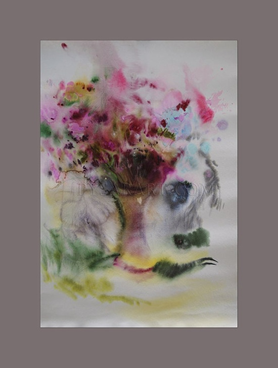 large flowers watercolor painting  colorful watercolor by PysarArt